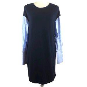 ECI Navy Mixed Media Sweater Dress